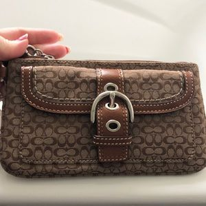 Coach Wristlet- Khaki-Toffee Color